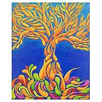 'Sperm in Motion' - Signed Abstract Tree Painting from Costa Rica