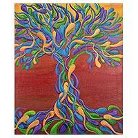 'Fire' - Signed Abstract Tree-Themed Painting from Costa Rica