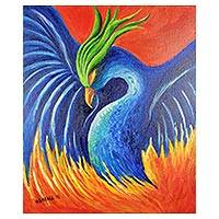 'Phoenix Bird' - Signed Expressionist Phoenix Painting from Costa Rica