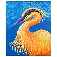 'Sunrise (Heron)' - Signed Expressionist Heron Painting from Costa Rica