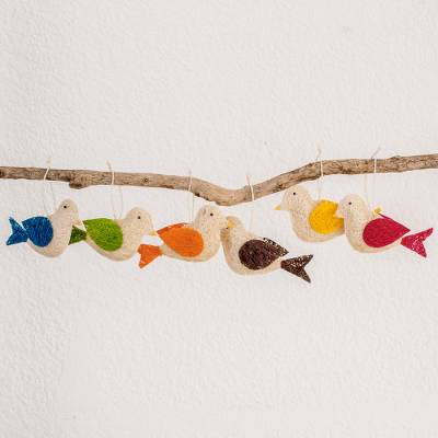 Natural fiber ornaments, Colorful Messengers of Peace (set of 6)