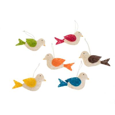 Assorted Natural Fiber Dove Ornaments (Set of 6)