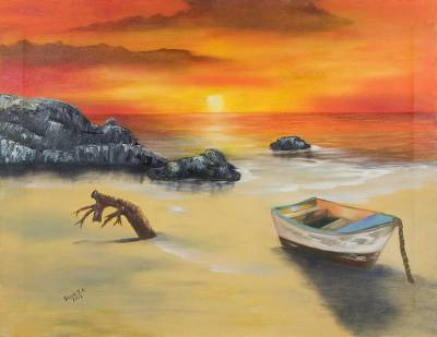 'Sunset at the Beach' - Signed Impressionist Painting of a Beach Sunset
