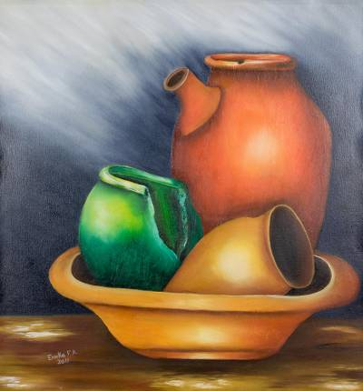 'Jars' - Signed Still Life Painting of Jars from Costa Rica