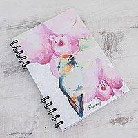 Paper journal, 'Orchid Hummingbird' - Signed Floral Hummingbird Paper Journal from Costa Rica