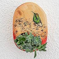 Wood wall-mounted planter, 'Flowerbed Beauty' - Hand-Painted Hummingbird-Themed Wood Wall-Mounted Planter