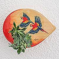 Wood wall-mounted planter, 'Flying Macaws' - Hand-Painted Parrot-Themed Wood Wall-Mounted Planter