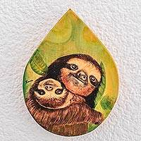 Wood plaque, 'Mother Sloth' - Hand-Painted Sloth-Themed Wood Plaque Wall Art