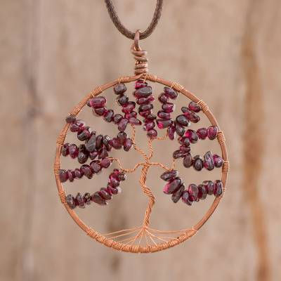 Garnet pendant necklace, 'Leo Tree of Life' - Garnet Gemstone Tree Leo Pendant Necklace from Costa Rica