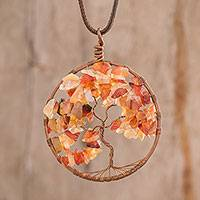 Agate pendant necklace, 'Scorpio Tree of Life' - Agate Gemstone Tree Scorpio Pendant Necklace from Costa Rica
