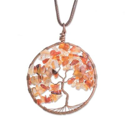 Agate Gemstone Tree Scorpio Pendant Necklace from Costa Rica