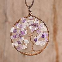 Amethyst pendant necklace, 'Virgo Tree of Life' - Amethyst Gemstone Tree Pendant Necklace from Costa Rica