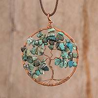 Pendant necklace, 'Cancer Tree of Life' - Gemstone Tree Pendant Cancer Necklace from Costa Rica