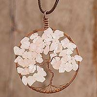 Rose quartz pendant necklace, 'Taurus Tree of Life' - Rose Quartz Gemstone Tree Pendant Necklace from Costa Rica