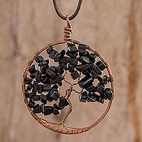 Onyx pendant necklace, 'Aquarius Tree of Life' - Onyx Gemstone Tree Aquarius Pendant Necklace from Costa Rica