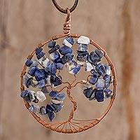 Sodalite pendant necklace, 'Libra Tree of Life' - Sodalite Gemstone Tree Pendant Necklace from Costa Rica