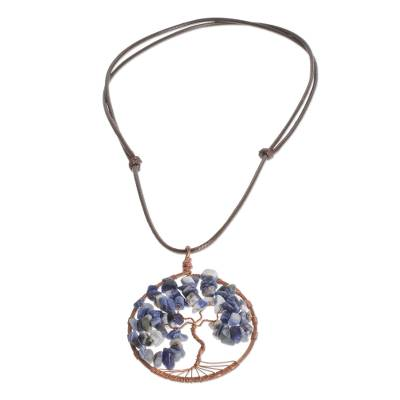 Sodalite Gemstone Tree Pendant Necklace from Costa Rica
