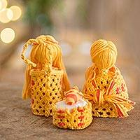 Cotton macrame nativity scene, 'Hopeful Arrival in Marigold' (set of 4) - Cotton Macrame Nativity Scene in Marigold (Set of 4)
