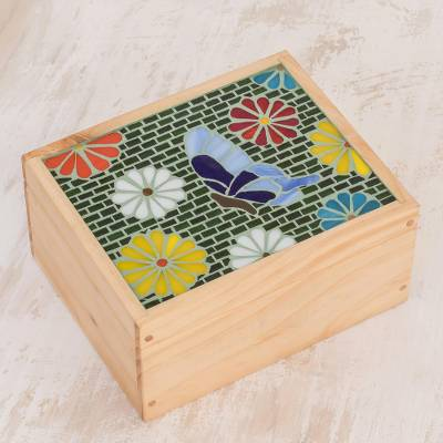 Glass mosaic tea box, Multicolored Garden