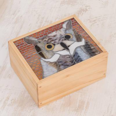 Glass mosaic tea box, 'Charming Owl' - Owl-Themed Glass Mosaic Tea Box from Costa Rica