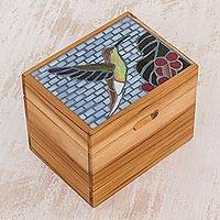 Glass mosaic teakwood decorative box, 'Hummingbird Flight' - Handcrafted Glass Mosaic Teakwood Decorative Box