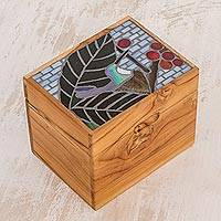 Glass mosaic teakwood decorative box, 'Sweet Flight' - Glass Mosaic Teakwood Decorative Box from Costa Rica