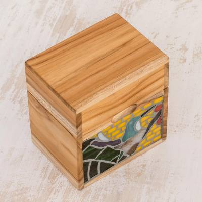 Glass mosaic teak wood decorative box, 'Hummingbird Delight' - Hummingbird-Themed Glass Mosaic Teak Wood Decorative Box