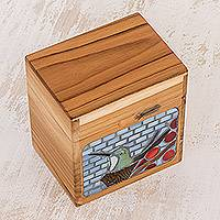 Glass mosaic teakwood decorative box, 'Hummingbird Garden' - Hummingbird Glass Mosaic Teakwood Decorative Box