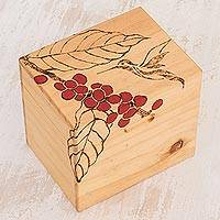 Wood decorative box, 'Little Hummingbird' - Hummingbird-Themed Pinewood Decorative Box from Costa Rica
