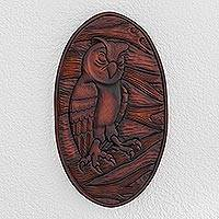 Wood relief panel, 'Owl Watcher' - Owl-Themed Pochote Wood Relief Panel from Costa Rica