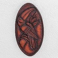 Wood relief panel, 'Above the Canopy' - Toucan Pochote Wood Relief Panel from Costa Rica