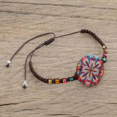 Glass beaded macrame pendant bracelet, 'Vibrant Kaleidoscope' - Multicolored Glass Beaded Macrame Pendant Bracelet