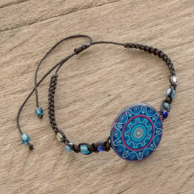 Glass beaded macrame pendant bracelet, 'Ancient River' - Glass Beaded Macrame Pendant Bracelet in Blue