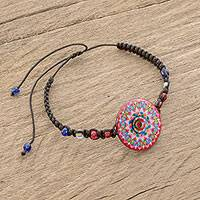 Glass beaded macrame pendant bracelet, 'Mesmerizing Kaleidoscope' - Kaleidoscopic Glass Beaded Macrame Pendant Bracelet