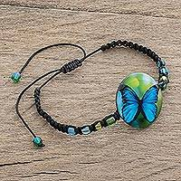 Glass beaded macrame pendant bracelet, 'Morpheus' - Butterfly Glass Beaded Macrame Pendant Bracelet