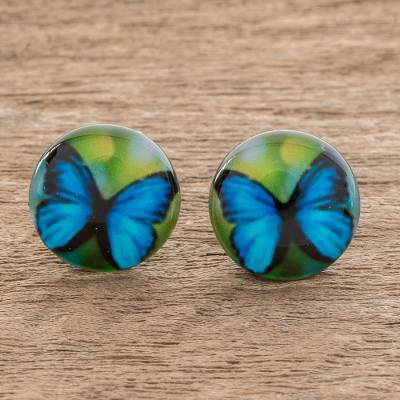Resin and paper stud earrings, 'Morpheus' - Butterfly Resin and Paper Stud Earrings from Costa Rica