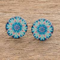 Resin and paper stud earrings, 'Magnificent Bloom' - Floral Resin and Paper Stud Earrings from Costa Rica