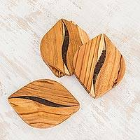 Teak wood coasters, 'Coffee Morning' (set of 4) - Coffee-Themed Teak Wood Coasters from Costa Rica (Set of 4)