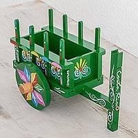 Wood decorative accent, 'Traditional Cart' - Wood Cart Decorative Accent in Green from Costa Rica