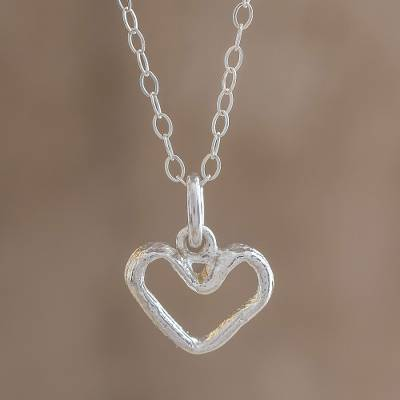 Sterling silver pendant necklace, 'Unconditional' - Heart-Shaped Sterling Silver Pendant Necklace