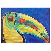 'Costa Rican Beauty' - Signed Expressionist Painting of a Toucan from Costa Rica