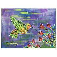 'Flying Hummingbird' - Signed Painting of a Hummingbird and Flowers from Costa Rica