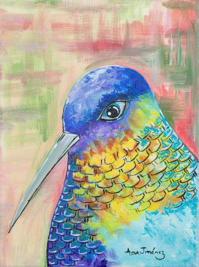 'Live Nature' - Colorful Signed Expressionist Hummingbird Painting