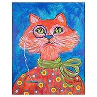 'Astute Cat' - Signed Whimsical Painting of a Cat from Costa Rica