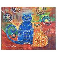'Feline Friends' - Signed Painting of Two Cats from Costa Rica