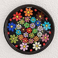 Ceramic decorative plate, 'Psychedelic Bouquet' - Colorful Floral Ceramic Decorative Plate from Guatemala