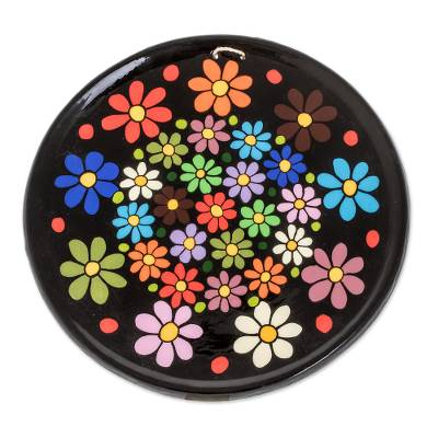 Colorful Floral Ceramic Decorative Plate from Guatemala