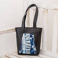 Recycled rubber and cotton tote, 'Lapis Dream' - Recycled Rubber and Lapis Cotton Tote from El Salvador