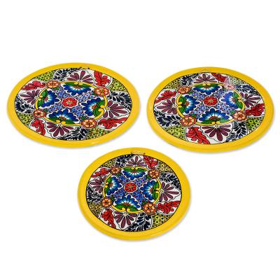 Floral Ceramic Decorative Plates from Guatemala (Set of 3)