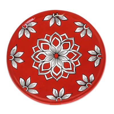 Floral Ceramic Decorative Plate in Red from Guatemala